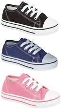huge discount 7911f b477b Boys Girls Kids Infants Black Pink Canvas Pumps Shoes Trainers Size 6-12