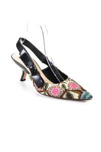 Christian Dior Womens J'Adior Floral Beaded Slingback Pumps Black Size 37.5 7.5