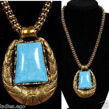 ELEGANTE MACIZO Collar Collar colgante Viejo Oro óptica azul turquesa MEDALLÓN