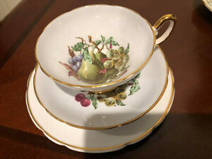 REGENCY BONE CHINA MADE IN ENGLAND PEAR GRAPE TEA CUP & SAUCER & TEA PLATE TRIO