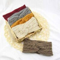 Women Elastic Hair Band Knitted Wool Headband Double Twist Cross Hairband 1Pcs
