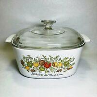 Vintage CORNING WARE Spice of Life La Marjolaine 3 Qt Casserole Dish A-3-B w/Lid