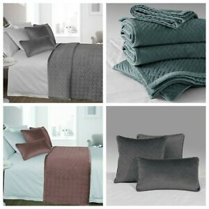 Luxury French Velvet Quilted Bedding Collection Bed Runner Throw Boudoir Cushion