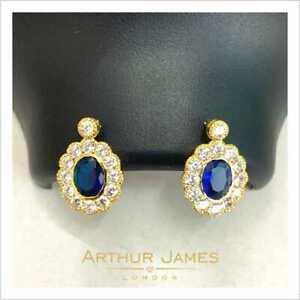 3 Ct Oval Cut Blue Tanzanite Diamond Drop Dangler Earrings Gold Omega Jewelry