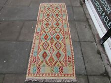 Kilim Old Traditional Hand Made Afghan Oriental Blue Long Kilim Runner 200x71cm