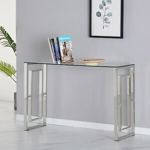 Glass Console Table with Clear Tempered Glass and Chrome Inner Square Leg Design
