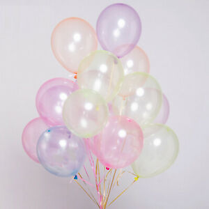 """50pcs 10"""" 2.3gram Mixed Neon Color Bubble Latex Balloons Celebration Party Wed"""