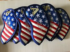 9x Golf Iron Cover Headcover USA Flag EmbroideryFor Callaway Titleist Taylormade