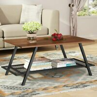 "Metal Mesh Shelf Coffee Table 45""Lx18.89""Wx19.68""H Wood Metal Frame Furniture US"