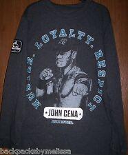 WWE John CENA Gray L/S Shirt Boy's 14/16 NeW Long Sleeve Hustle Loyalty Respect