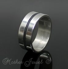 8MM STAINLESS STEEL BLACK BAND MENS WOMENS WEDDING ANNIVERSARY RING SIZE 9 R