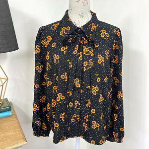Princess Highway Womens Top Blouse Floral Long Sleeve Pussy Bow Size 16