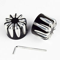 Black Front Edge Cut Axle Nut Covers Fit for Harley Softail Touring Streel Glide