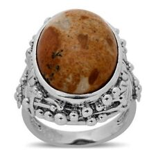 Venus Jasper 13.500Cts Ring In ION Plated Silver Bond Size O