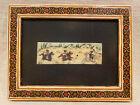 Hand Painted Persian Polo Scene Kari Inlay Frame Vintage Art, Free Shipping (b)