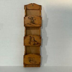 "Vintage Wood Wall Mounted 3 Slot Mail Bill Organizer 21""x5"""