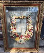 Unique 19th Cent. Victorian Hand Made Floral Carriage Wreath in Gilt Shadow Box