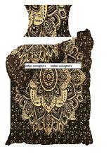 Black Gold Flower Design Cotton Fabric Duvet Cover Twin Size Handmade Indian Art