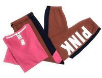 NWT Victorias Secret PINK Vneck Tshirt Tee Graphic Campus Sweat Pants Set Small