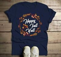 Men's Happy Fall Y'all T Shirt Floral Wreath Graphic Tee Season Shirts It's Fall