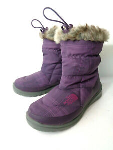 THE NORTH FACE WMNs 6M Plum Plaid Pull On Drawstring Goose Down Booties Faux Fur