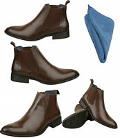 Mens Dark Brown Leather Lined Boots & Polishing Cloth Size UK 6 7 8 9 10 11 12