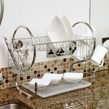 2Tiers Kitchen Dish Cup Drying Rack Holder Organizer Drainer Dryer Tray Cutlery#