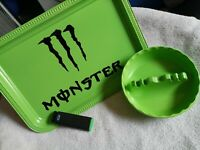 Monster Rolling Tray Set , Lighter, Ashtray, Marijuana, 420, Smoking