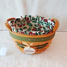 Vintage Longaberger 1999 Green Stripe Peppermint Tree Trimming Basket Combo