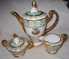 Elegant Hand Decorated 24 Karat Porcelain Chocolate Coffee Tea Pot Set Crm Sugar