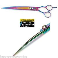 "Master Grooming Tools PRO RAINBOW CURVED 8.5"" Pet Dog Cat SHEARS SCISSORS w/Case"