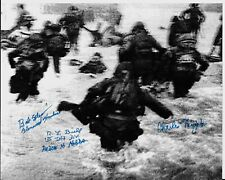 D-DAYJUNE 6,1944 OMAHA BEACH LANDING 6 D-DAY VETERANS RARE MULTI SIGNED PHOTO