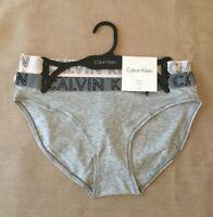 Calvin Klein Bikini Panties 2-Pk Outline Logo Waistband Gray Pale Pink Small NWT