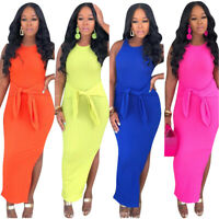Hot Sale Women's Sleeveless Solid Side Slit Bandage Bodycon Dress Club Party