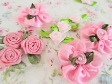 60 Mix Design Pink Tone Satin Ribbon Flower Rose/Leaf Applique/Pearl/Craft F75
