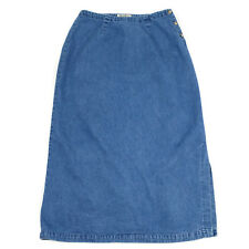 Eddie Bauer Denim Jeans Skirt Size 12  Long Maxi Modest Blue Button Side Slit