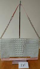Diane Von Furstenberg Adele Pink Patent Grey Embossed Croc Clutch Handbag, NWT