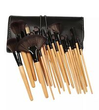 Bliss and Grace Make-up Brush Set with Vegan Leather Travel Bag (24 piece) Wood