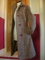 Ladies RIDDELLA Irish TWEED WOOL COAT UK 14 12 castle island pure new wool long