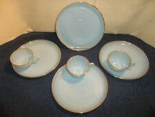 "Vintage Set of 4 Fire King Delphite Blue Gold Rim 9"" Snack Plates & 3 cups"