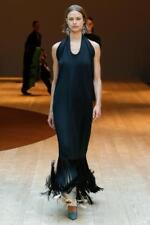 CELINE Suiting Fringe Dress Runway Black Long Open Back 36 Fall17 Phoebe Philo