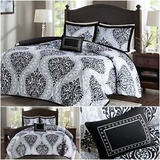 Bed Comforter Set Bedding Soft Black White Modern Damask Pattern Queen Size 4Pcs