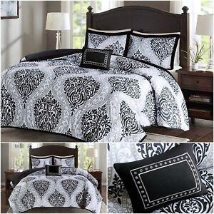 Bed Comforter Set Bedding Soft Black White Modern Damask Pattern Queen Size 4Pcs