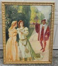 Original Ernest Shepard Illustration Painting Shakespeare Antique Pretty Girls
