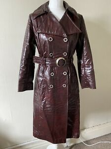 Vintage 1970s Burgundy Rainseal Belted Waterproof Mac Trench Size 12-14 Lined