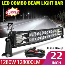 "22"" 128000LM Led Light Bar Combo Work Driving UTE Truck SUV 4X4 Boat 24''+Wiring"