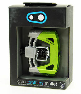 Crank Brothers Mallet 2 Platform Mountain Bike Pedals, Raw/Green