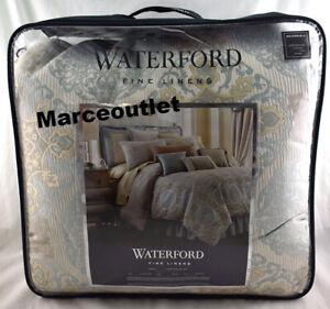 Waterford Linens Jonet 4 Piece CAL.KING Comforter Set Cream / Aqua