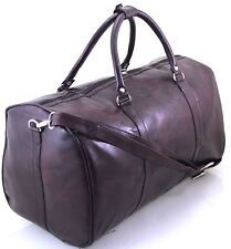 New Italian Leather Style Holdall Luggage Weekend Duffel Cabin Travel Bag Case