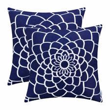 2Pcs Sea Blue Cushion Pillows Covers Shells Dahlia Florals Outline Decor 45x45cm